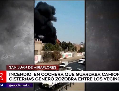 San Juan de Miraflores: incendio consumió una cochera que guardaba camiones cisternas